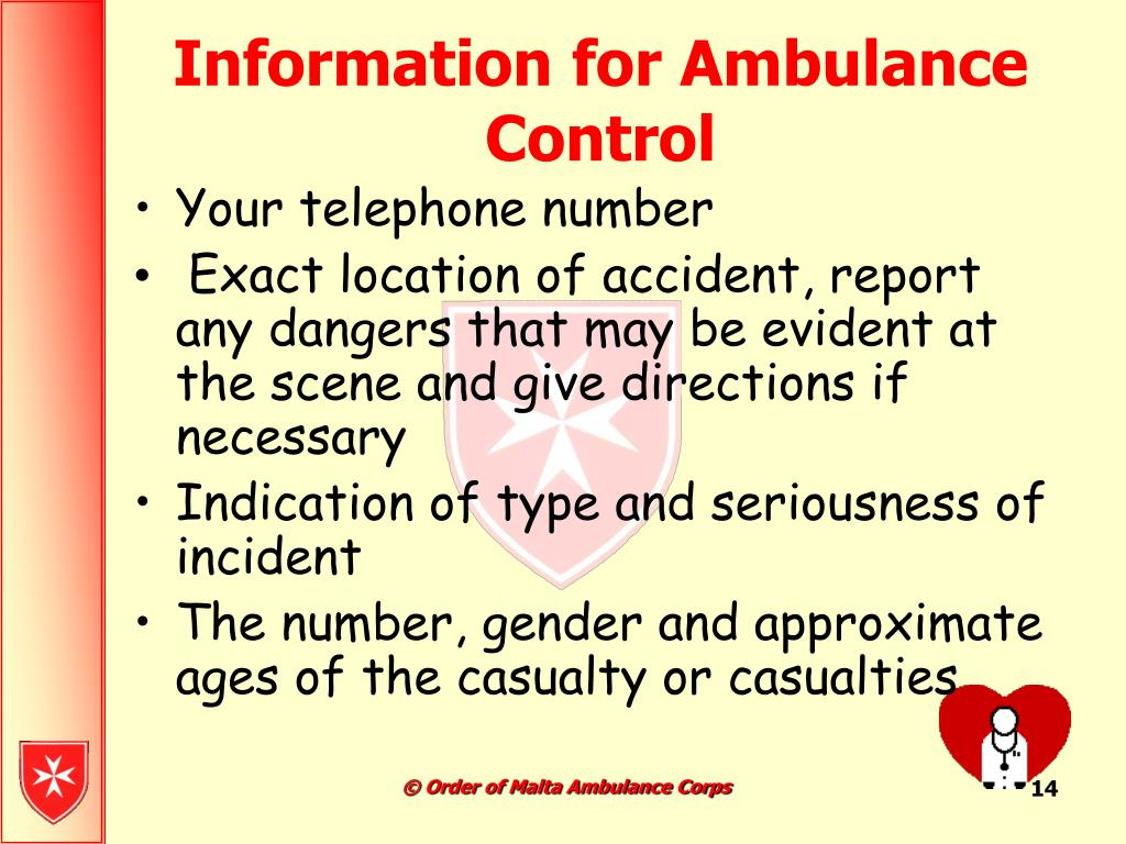 Information for Ambulance Control