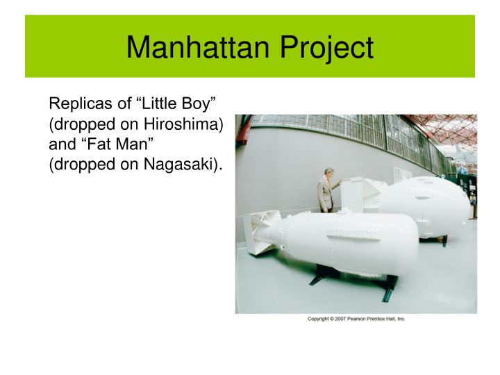 """Replicas of """"Little Boy"""" (dropped on Hiroshima) and """"Fat Man"""" (dropped on Nagasaki)."""