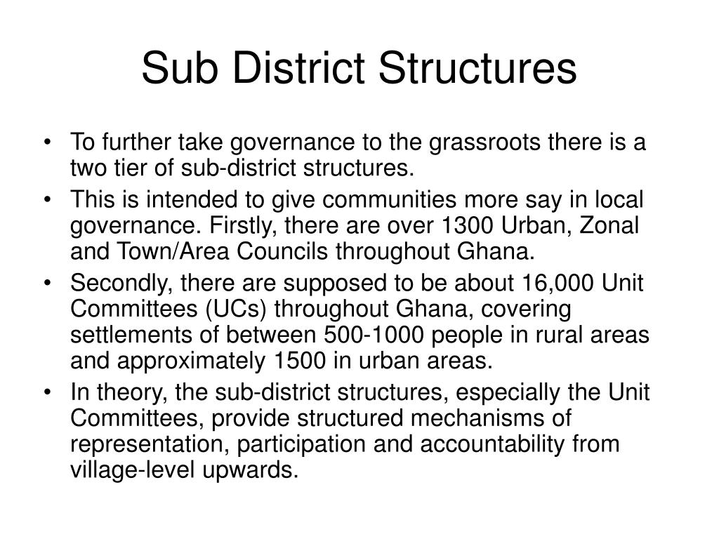 Sub District Structures