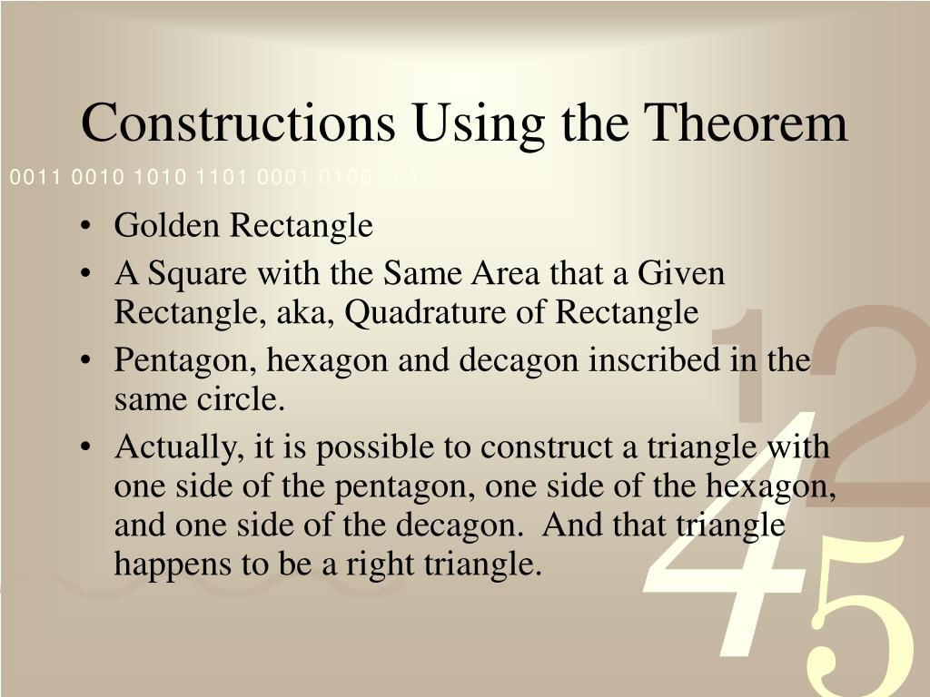 Constructions Using the Theorem
