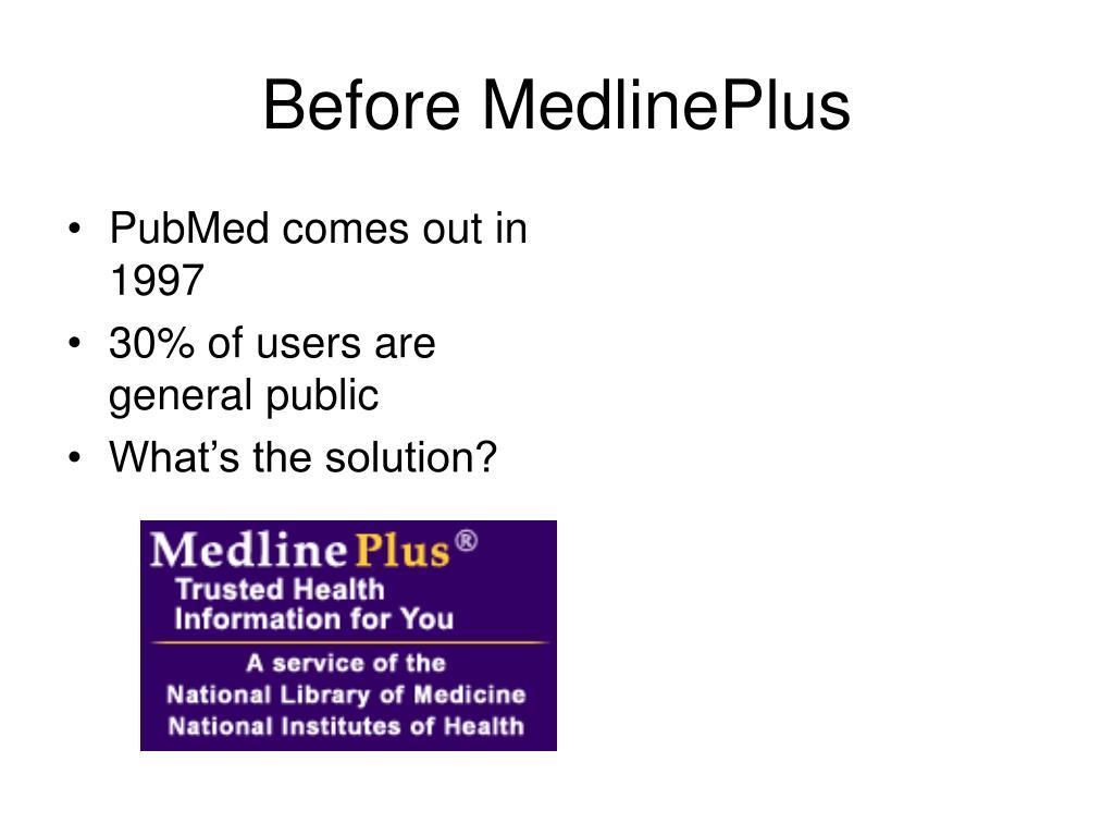 Before MedlinePlus