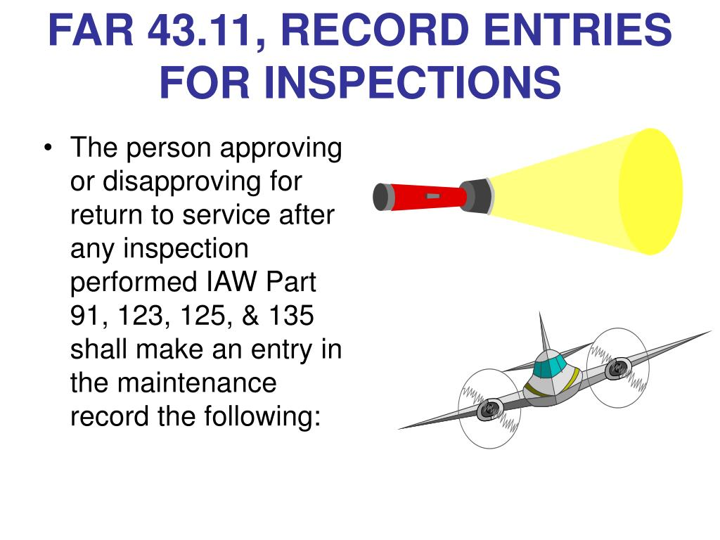 FAR 43.11, RECORD ENTRIES FOR INSPECTIONS