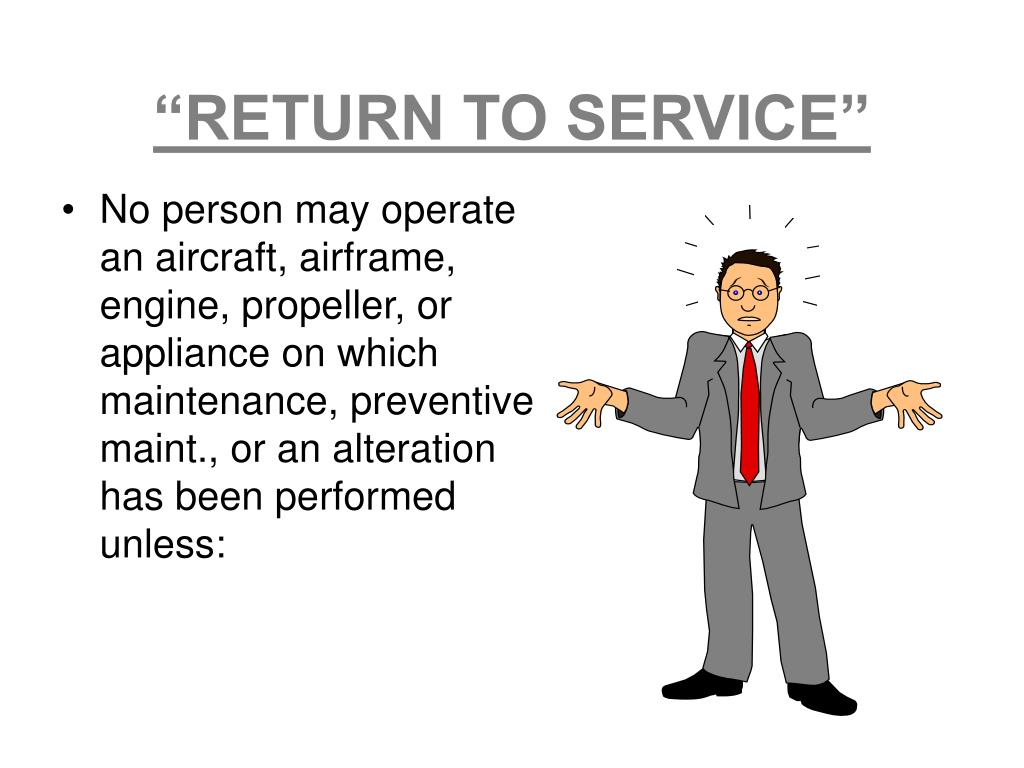 """RETURN TO SERVICE"""