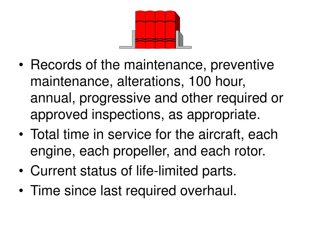 Records of the maintenance, preventive maintenance, alterations, 100 hour, annual, progressive and other required or approved inspections, as appropriate.