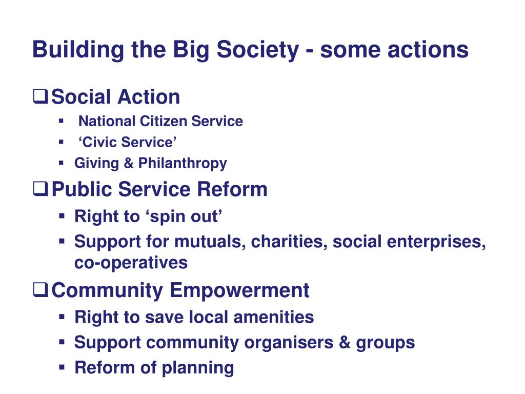Building the Big Society - some actions
