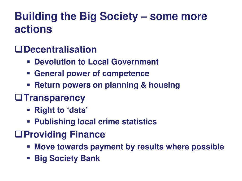 Building the Big Society – some more actions