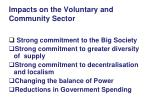 impacts on the voluntary and community sector