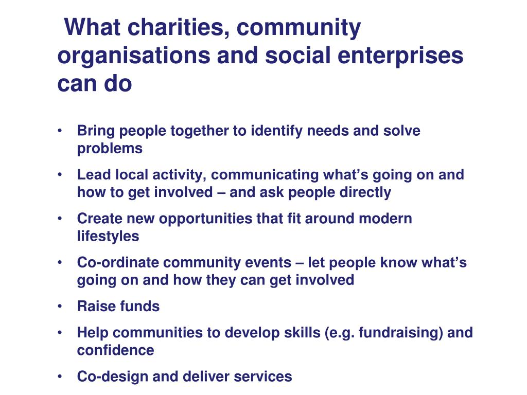 What charities, community organisations and social enterprises can do