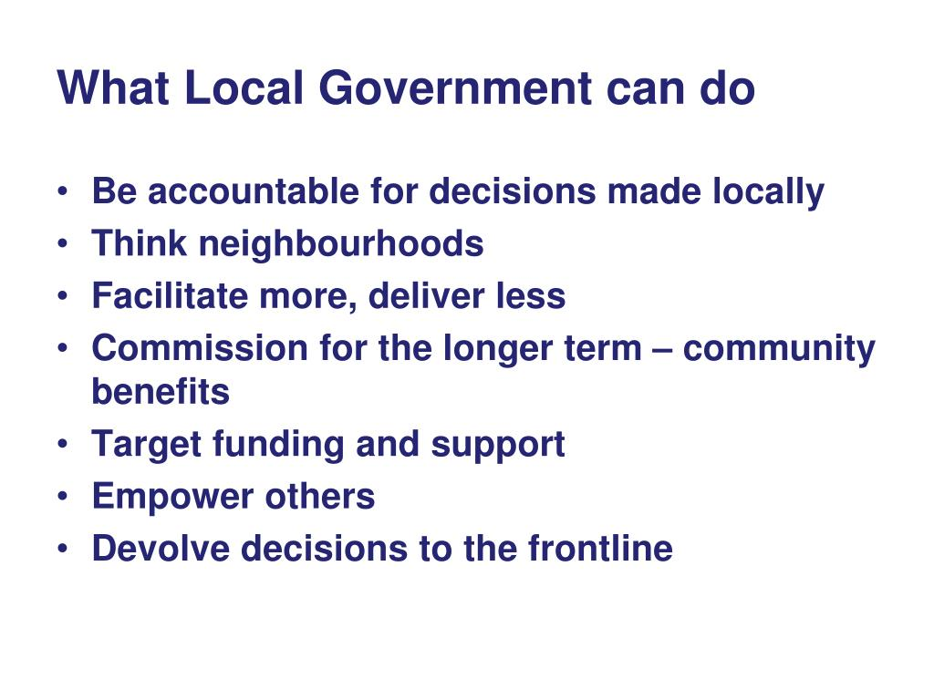 What Local Government can do