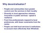 why decentralisation