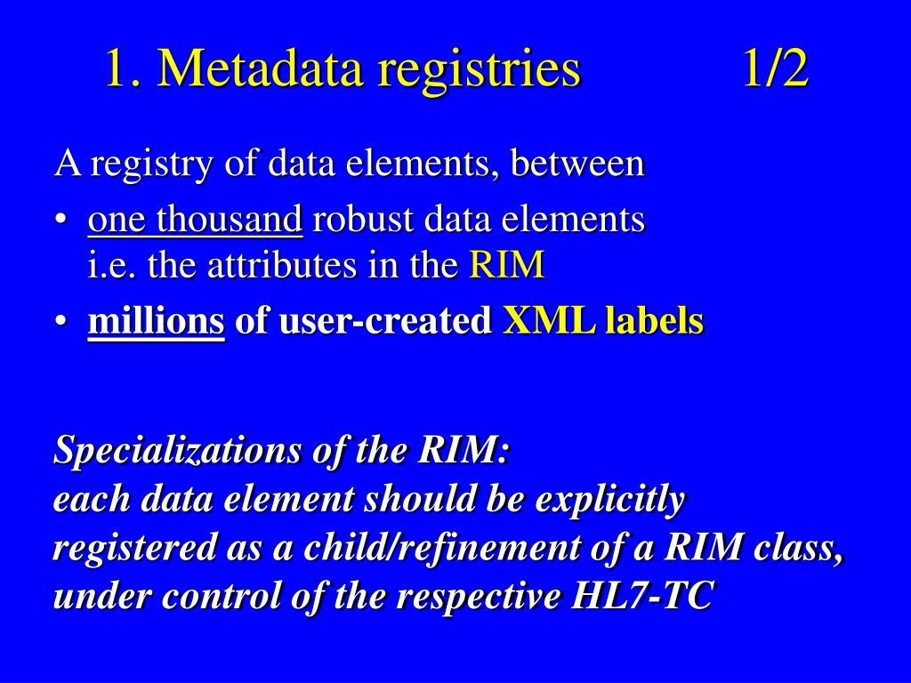 1. Metadata registries1/2