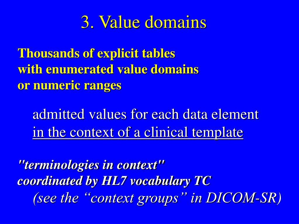 3. Value domains