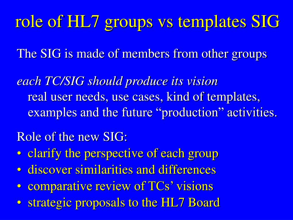 role of HL7 groups vs templates SIG