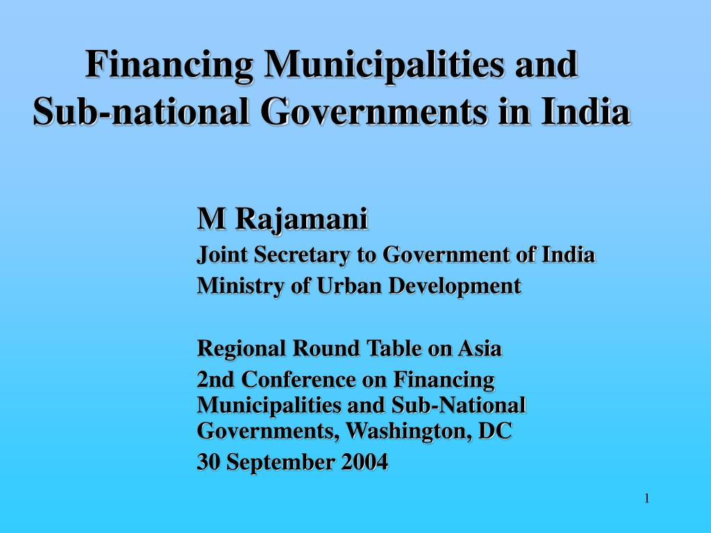 Financing Municipalities and