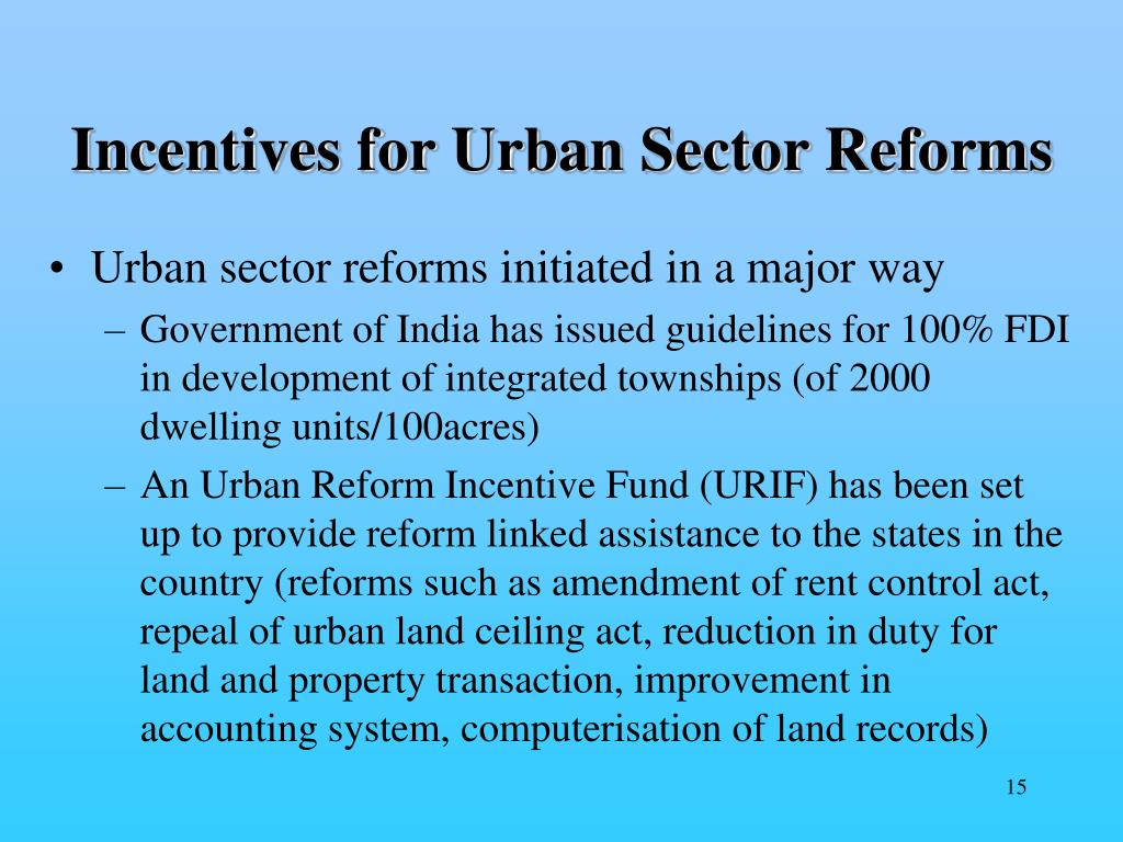 Incentives for Urban Sector Reforms