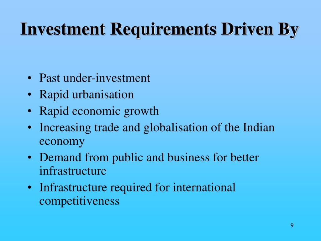 Investment Requirements Driven By