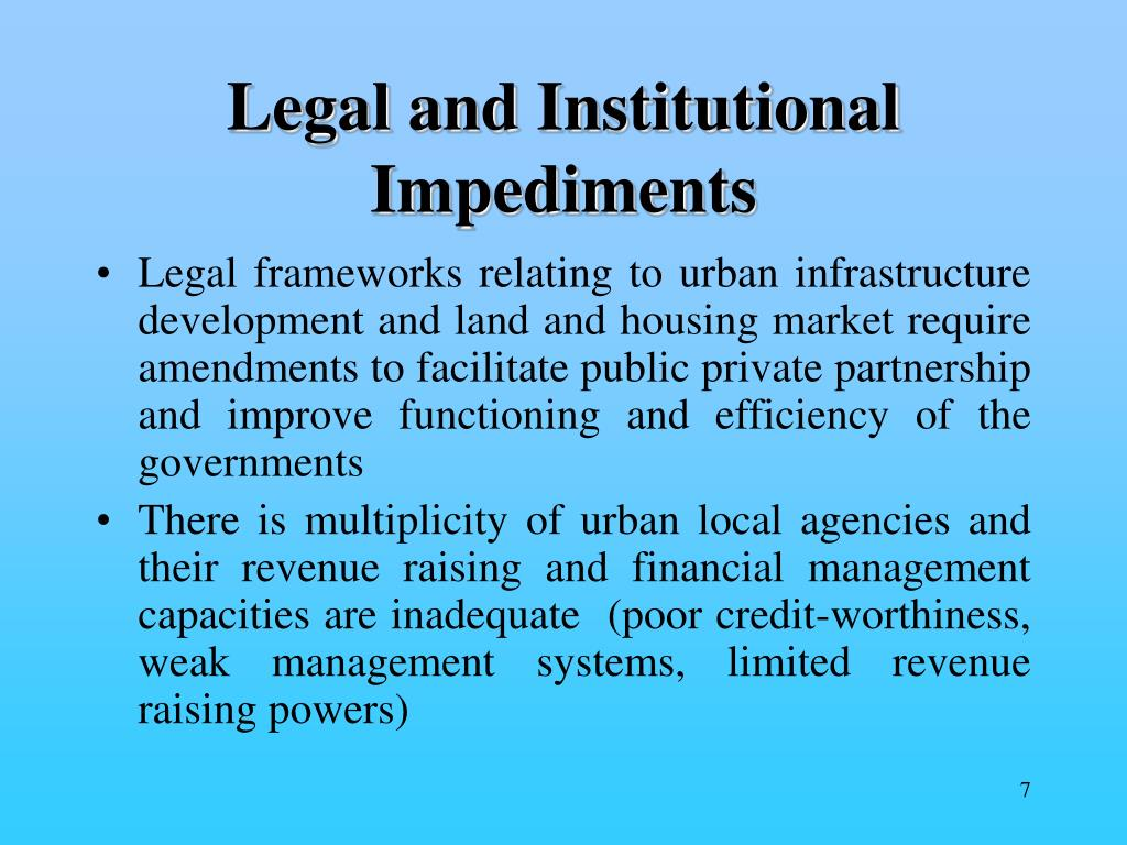 Legal and Institutional Impediments