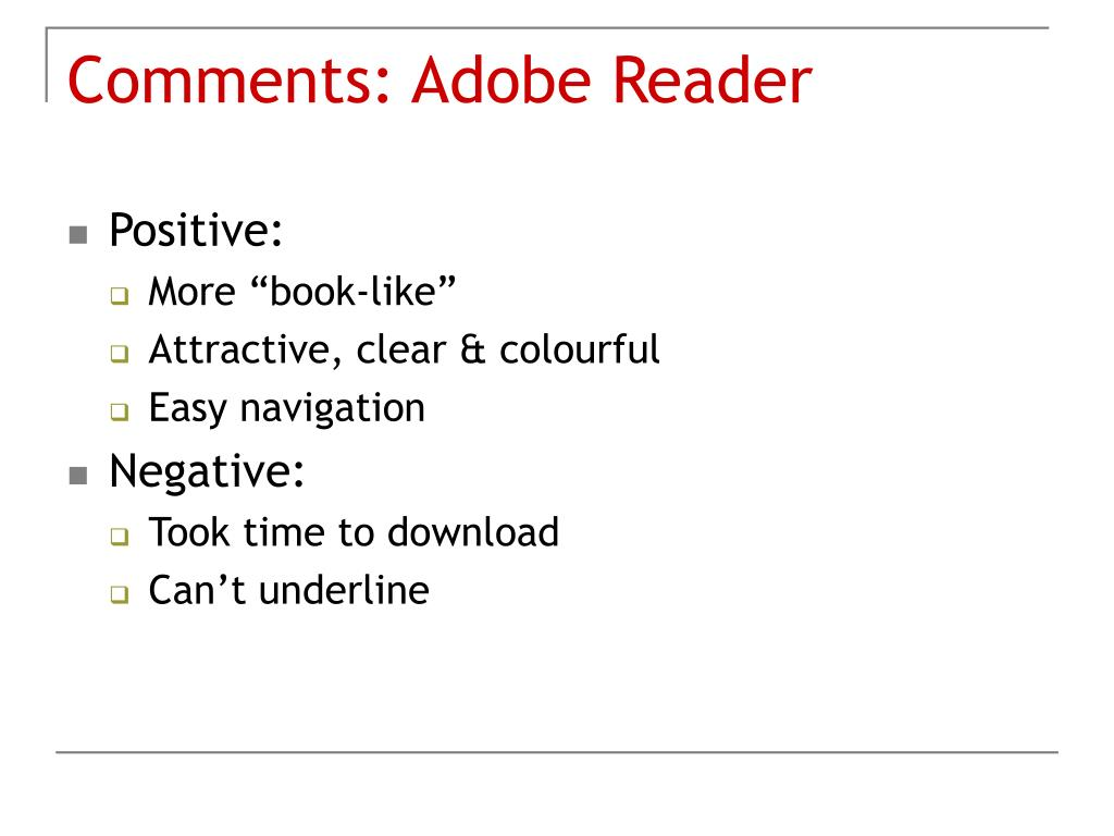 Comments: Adobe Reader