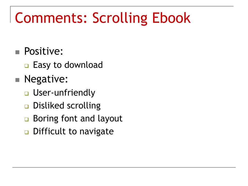 Comments: Scrolling Ebook