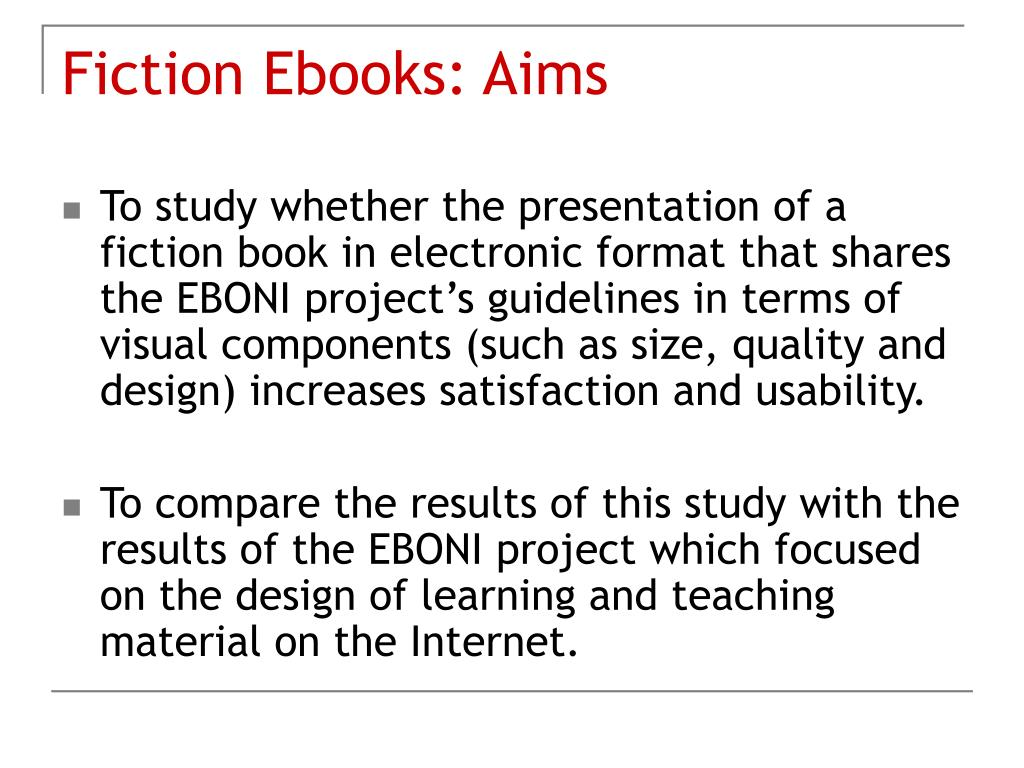 Fiction Ebooks: Aims