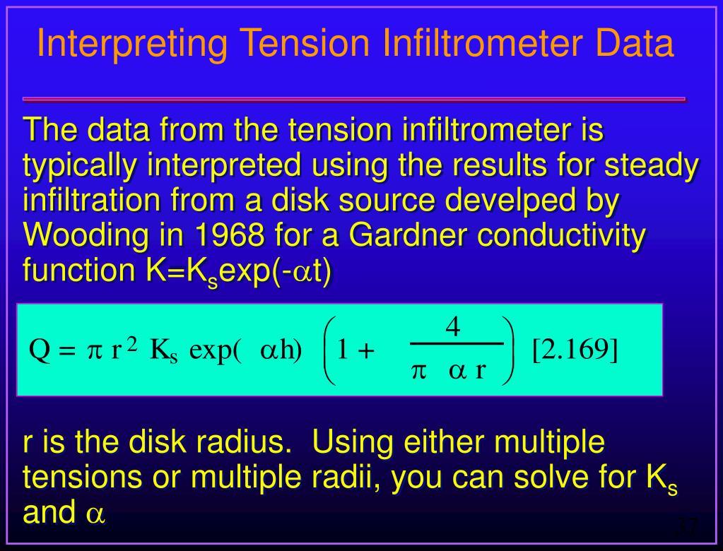 Interpreting Tension Infiltrometer Data
