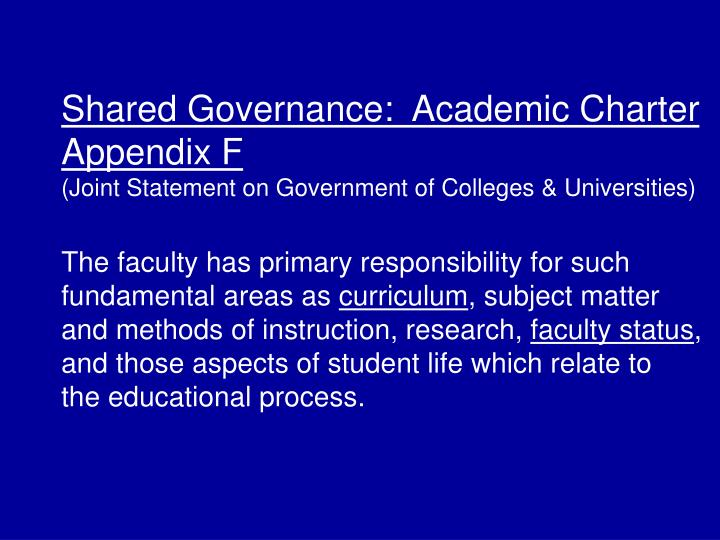 Shared Governance:  Academic Charter