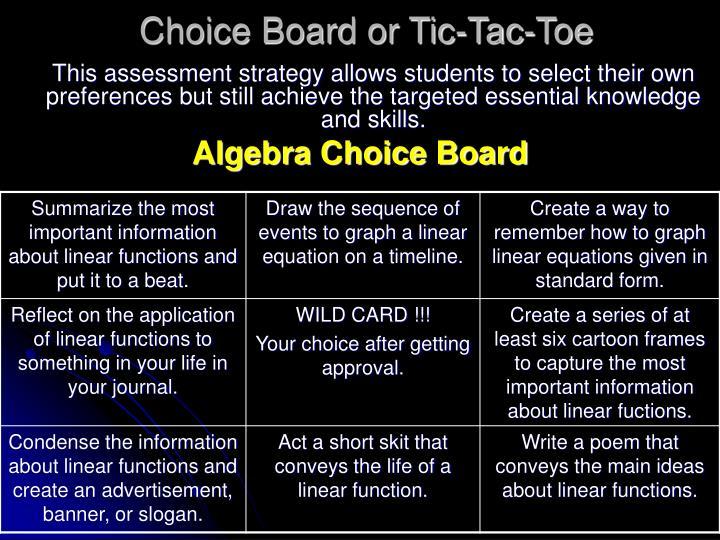 Choice Board or Tic-Tac-Toe
