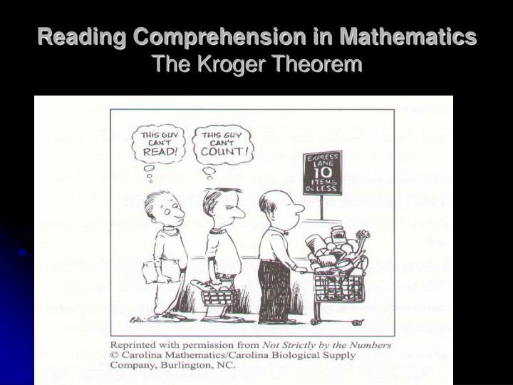 Reading Comprehension in Mathematics