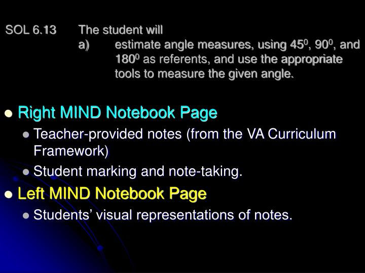 SOL 6.13 The student will