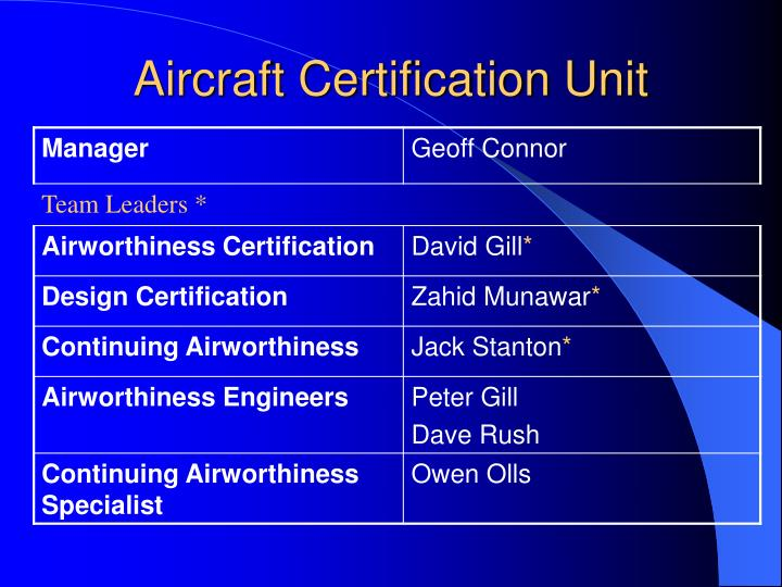 Aircraft certification unit