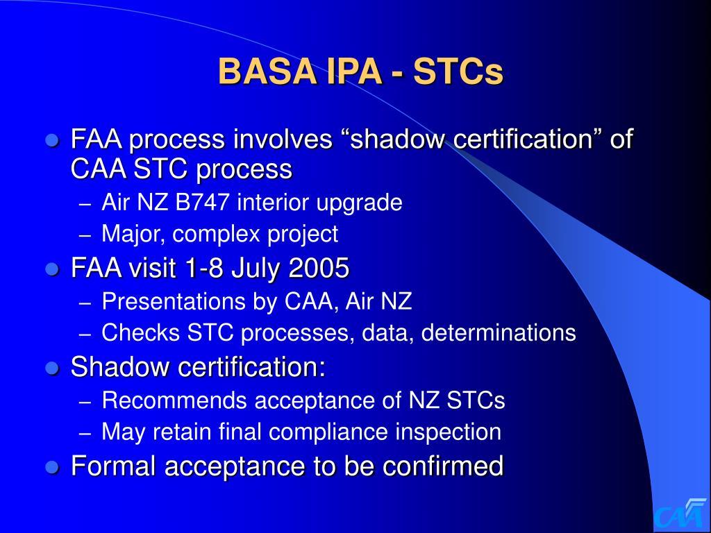 BASA IPA - STCs