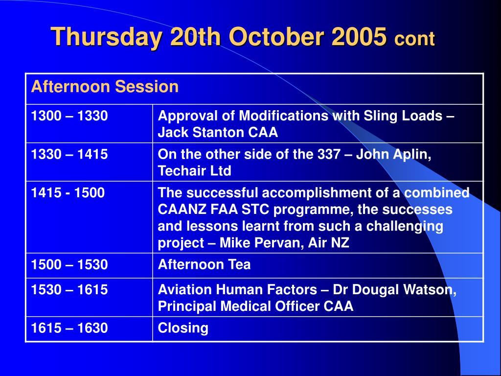 Thursday 20th October 2005