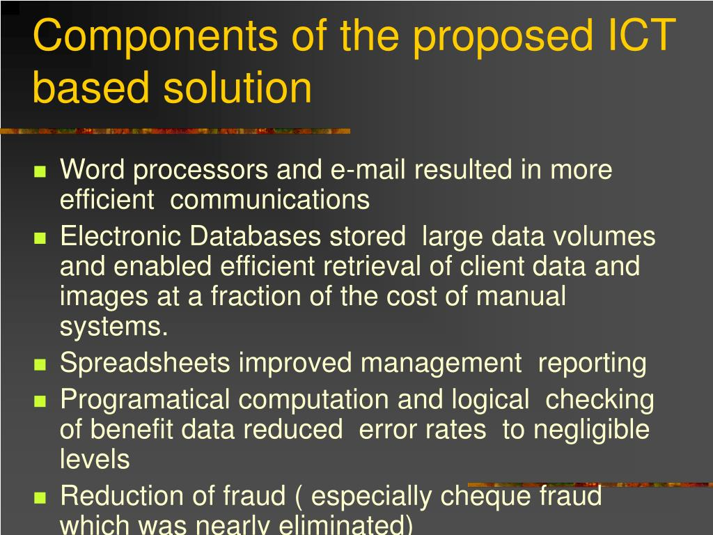 Components of the proposed ICT based solution