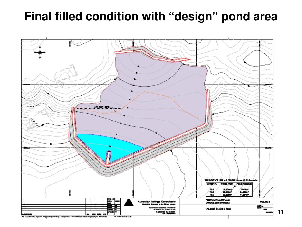 """Final filled condition with """"design"""" pond area"""