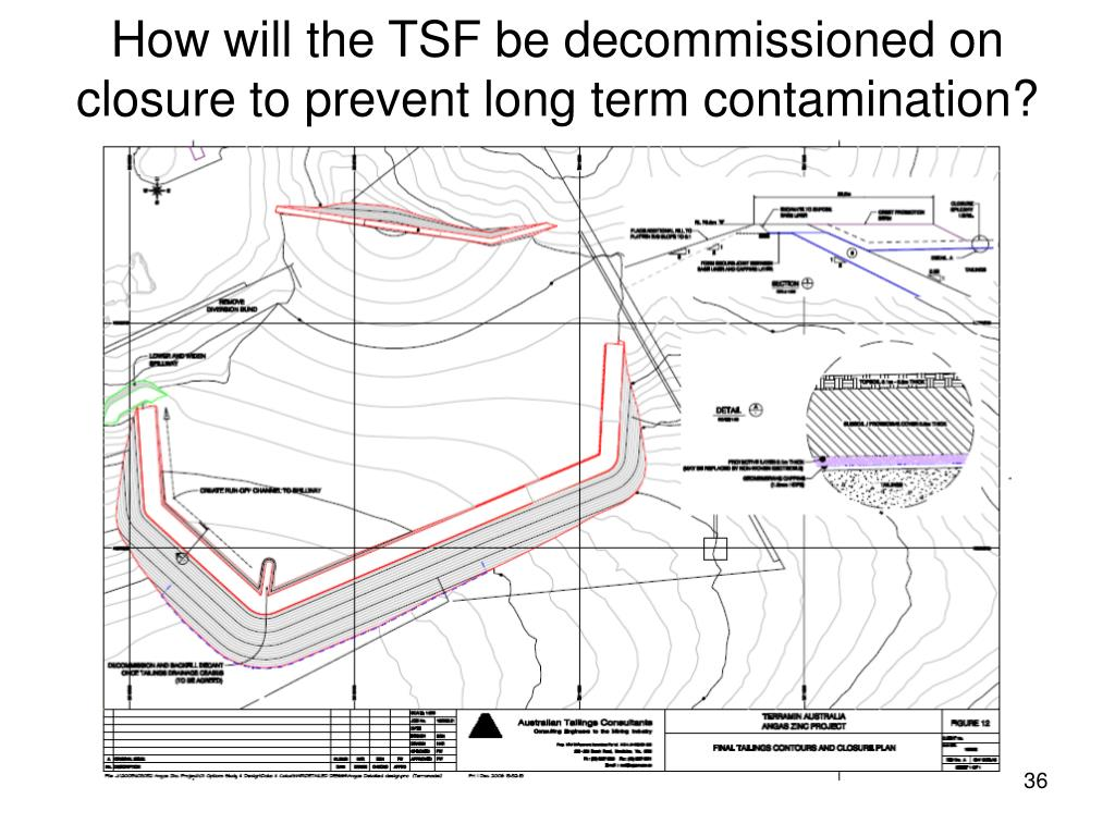 How will the TSF be decommissioned on closure to prevent long term contamination?