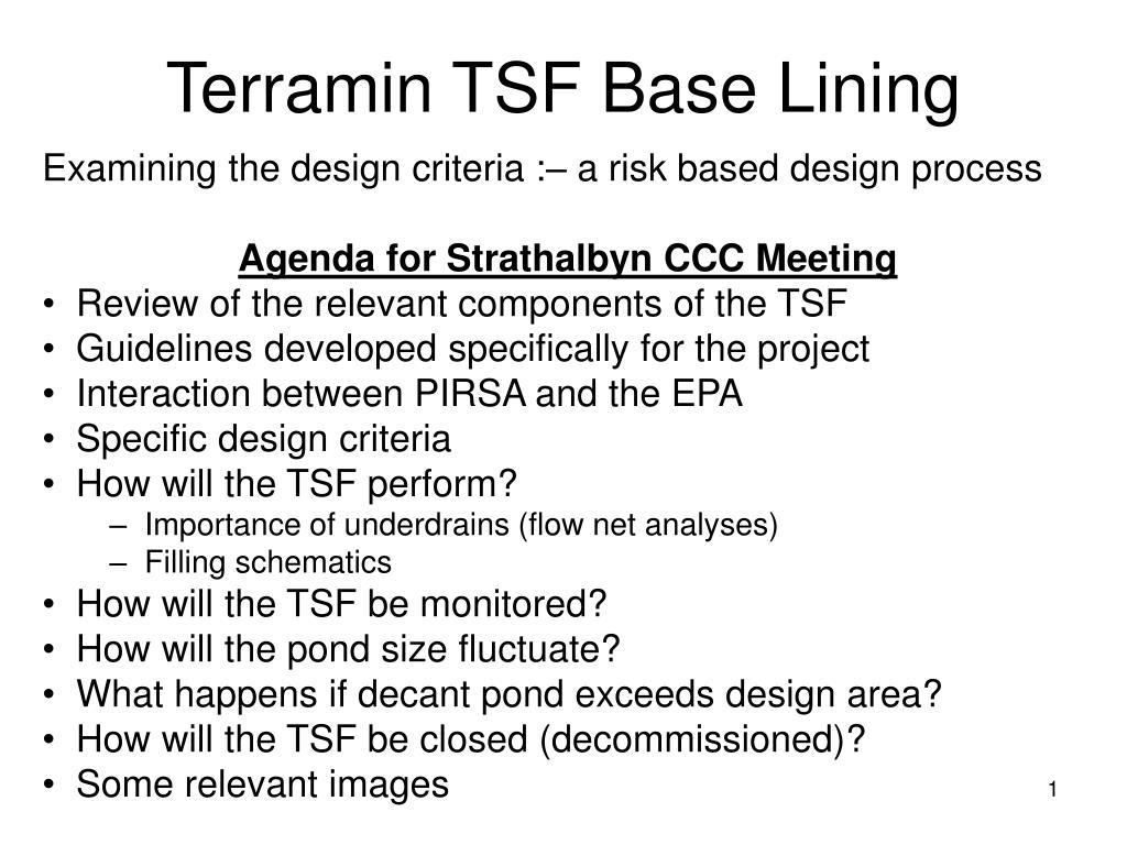 Terramin TSF Base Lining