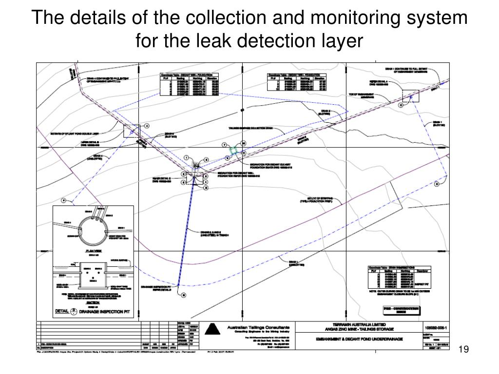 The details of the collection and monitoring system for the leak detection layer