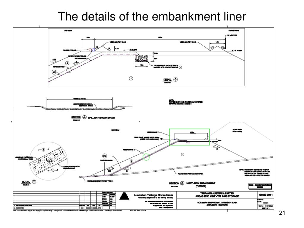 The details of the embankment liner