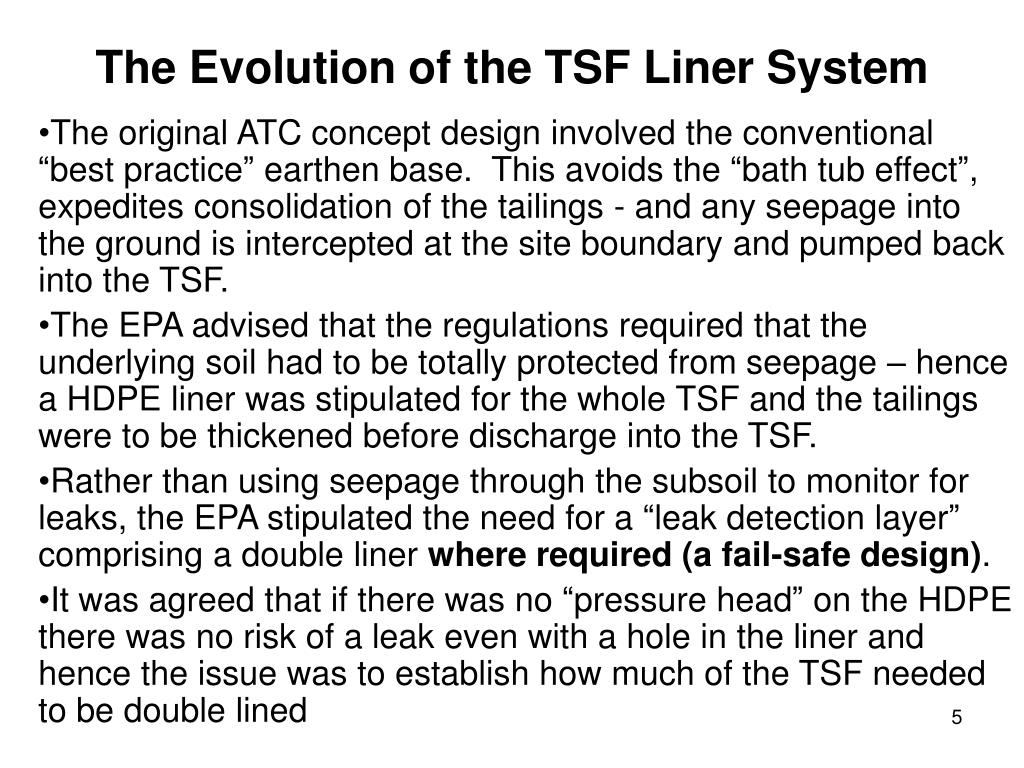 The Evolution of the TSF Liner System
