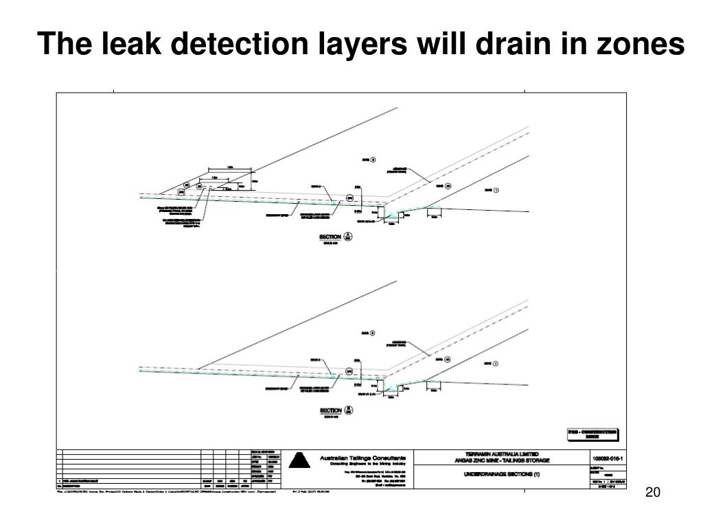 The leak detection layers will drain in zones