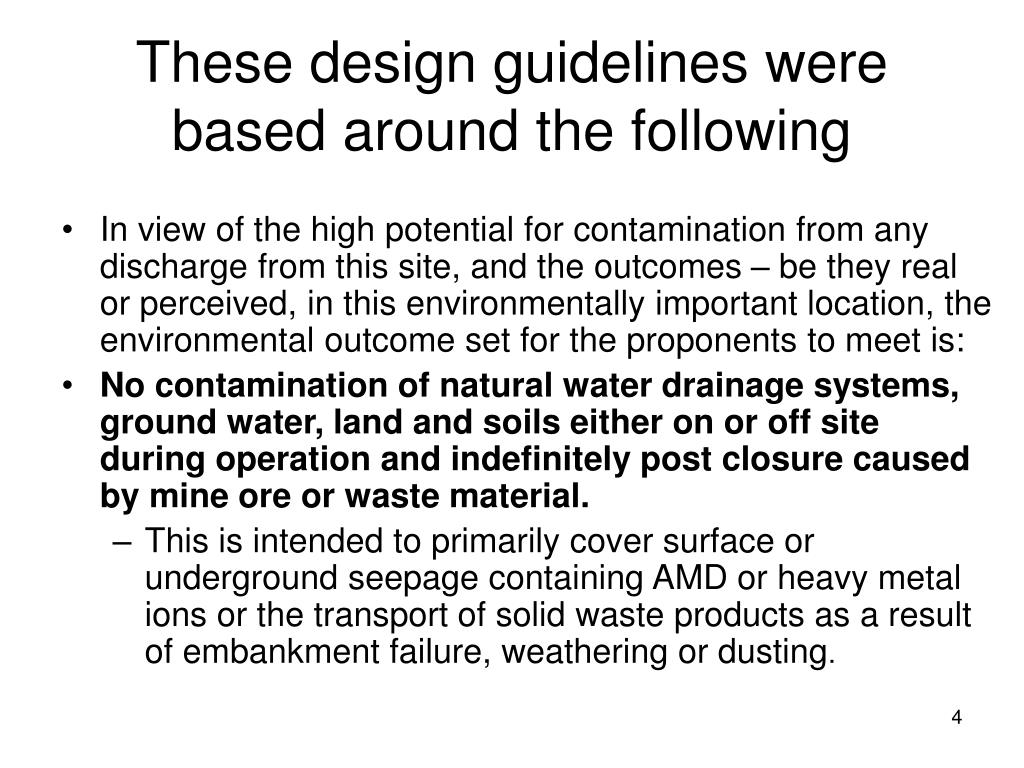 These design guidelines were based around the following