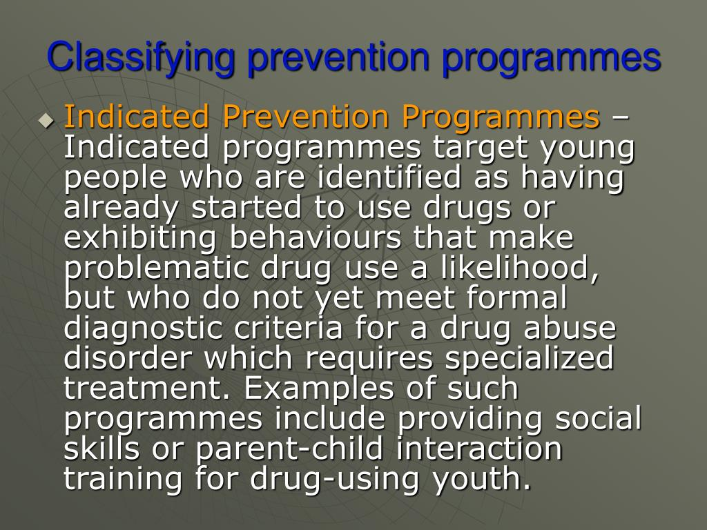 Classifying prevention programmes