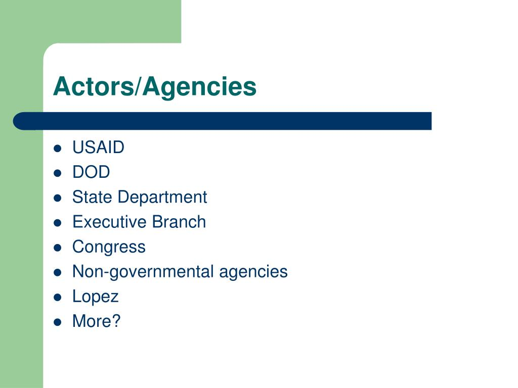 Actors/Agencies