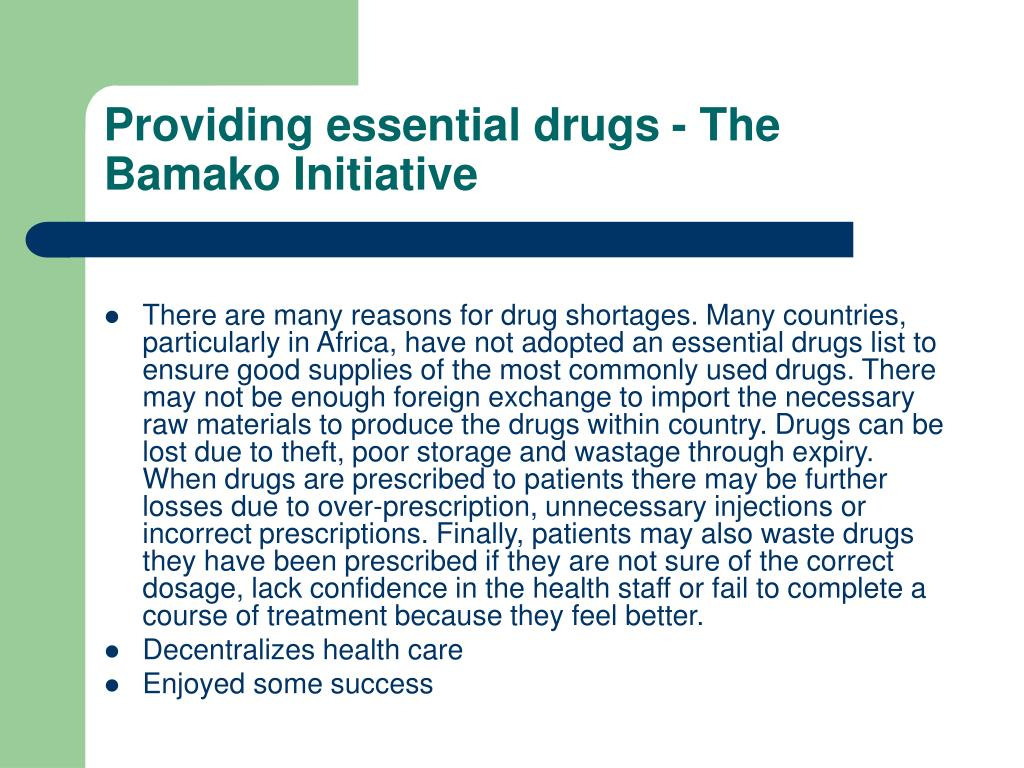 Providing essential drugs - The Bamako Initiative