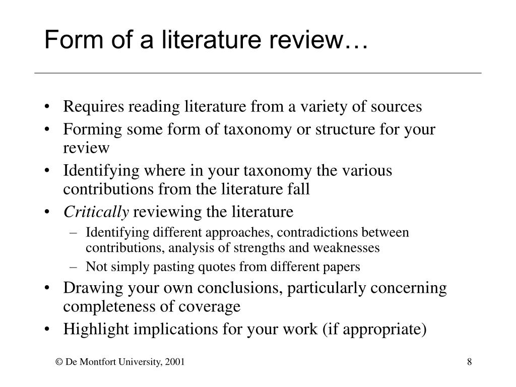 Form of a literature review…