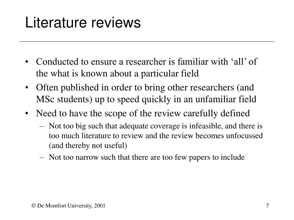 Literature reviews