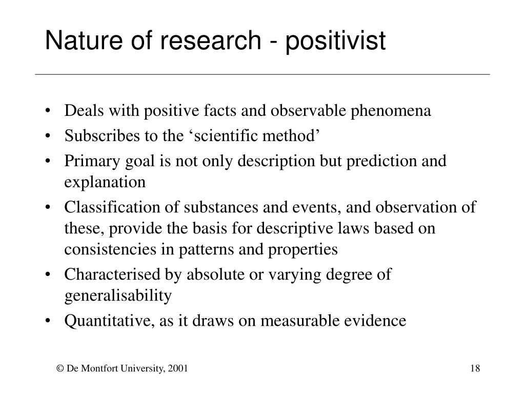 Nature of research - positivist