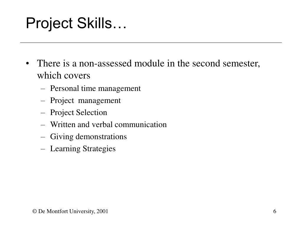Project Skills…