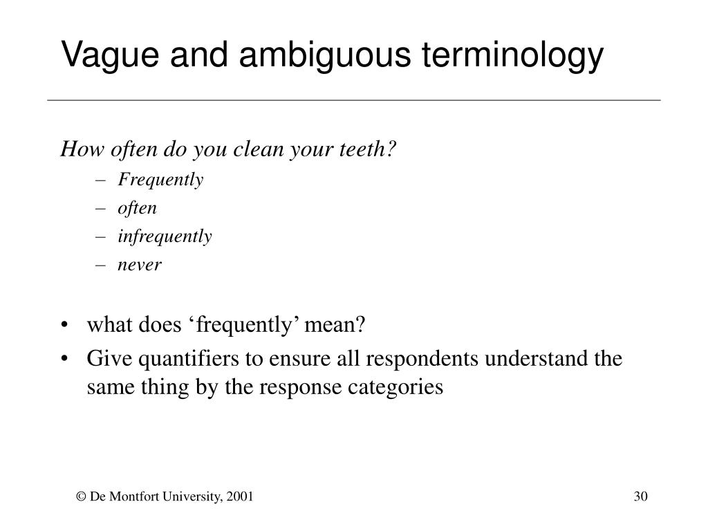 Vague and ambiguous terminology