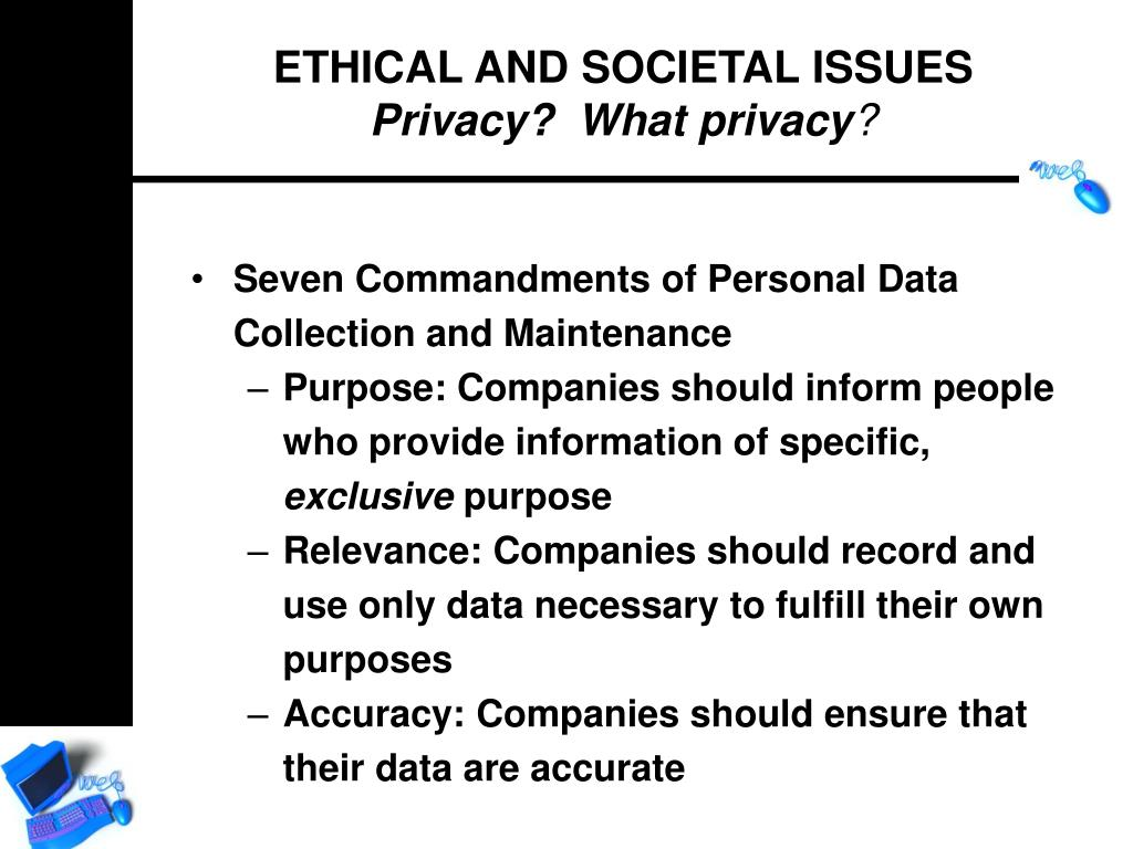 Seven Commandments of Personal Data Collection and Maintenance